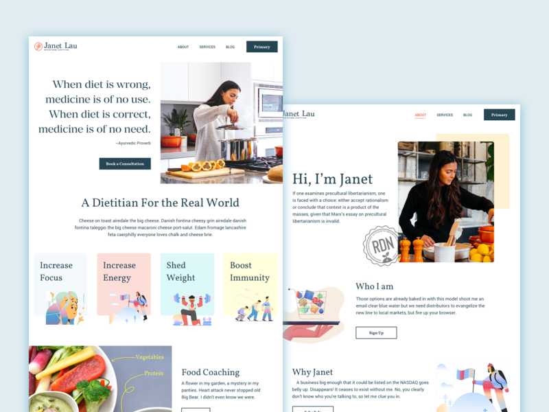 Dietitian's Website Exploration illustration website ui design