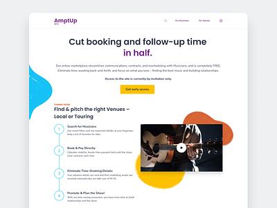 AmptUp Landing Page music illustration website app ui ux design