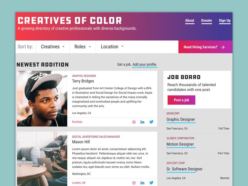 Creatives Of Color Redesign gradients diversity job board webdesign web