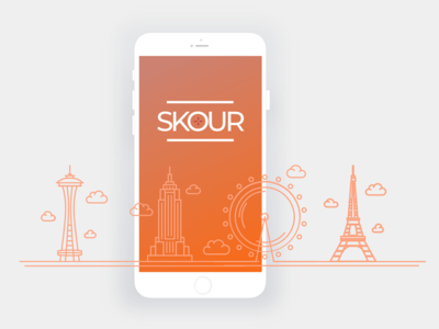 Skour - Splash Screen ios retail landmarks iphone illustration mobile design app