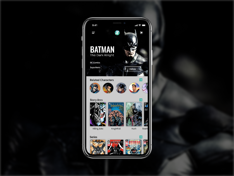Comixology Character Page ui mobile ux design app