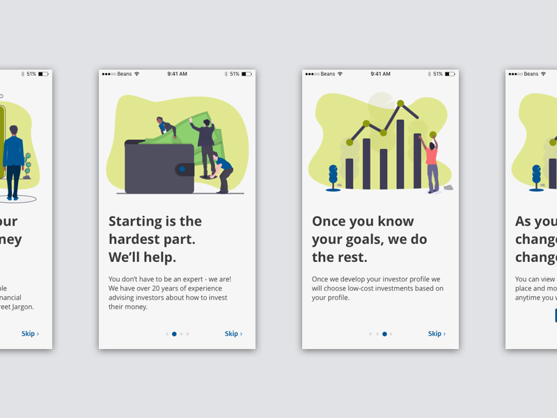 Fintech Walkthough mobile ux ui vector illustration design app