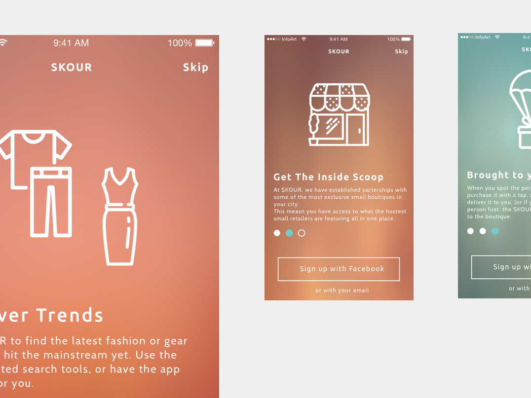Skour App Walkthrough mobile app retail ui design app