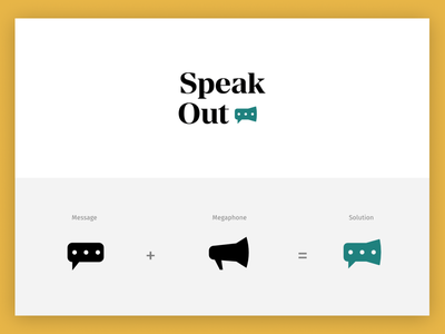 SpeakOut Logo Concept - Megaphone design icon typography branding vector logo
