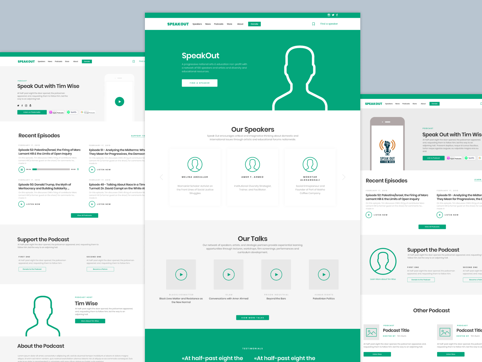 Speakout dribbble wireframes 2019 10 01