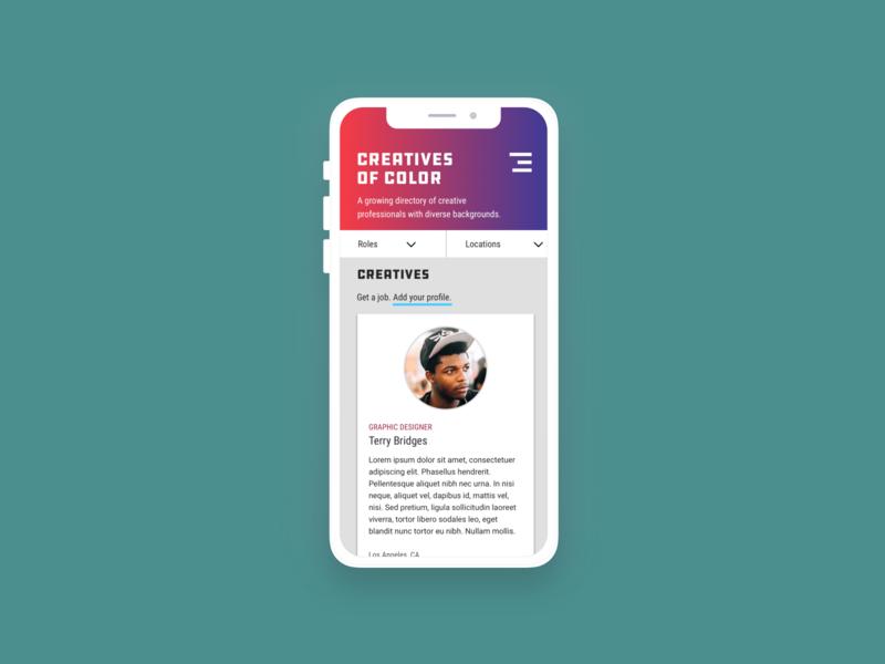 Creatives of Color - Mobile responsive design app mobile