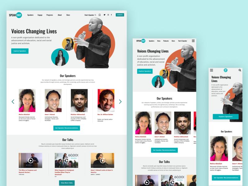 SpeakOut Responsive Layout responsive design mobile website ui ux design