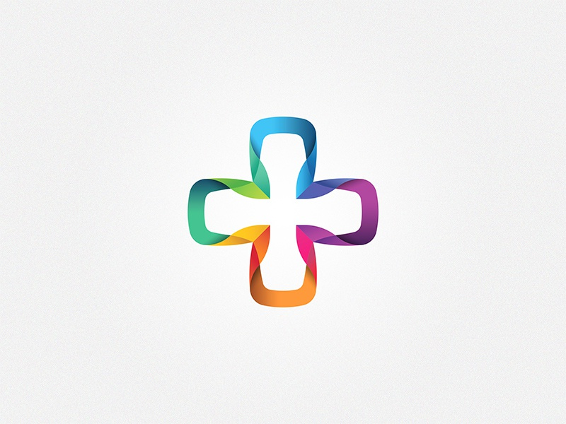 Cross Logo Symbol #2 (for sale) cross healthcare medical doctor church faith ribbon blend colors colorful