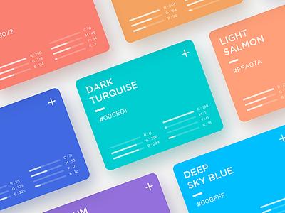 Web Color Cards rgb cmyk concept card color web
