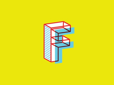 F Letterform letterform 3d illustration colorful f overlay screenprint yellow focus lab