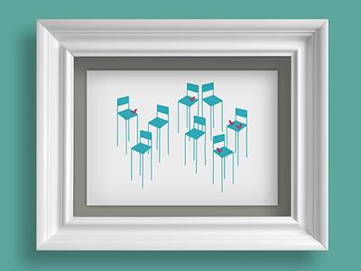 Albaricoke Azul Print, Musical Chairs