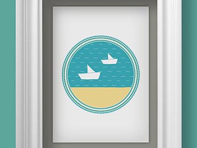 Albaricoke Azul Print, Boats