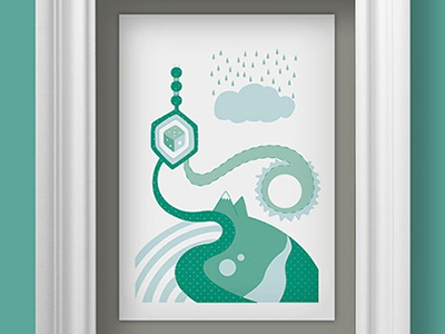 Albaricoke Azul Print, Random World