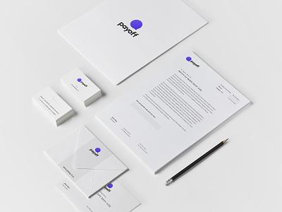 Payoff stationery mockup logo identity design branding