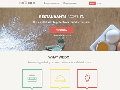 Landing Page Redesign ux ui web design icons flat restaurant redesign landing page flat button ordering how it works