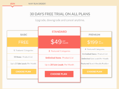 Pricing pricing table button flat ui ux web design