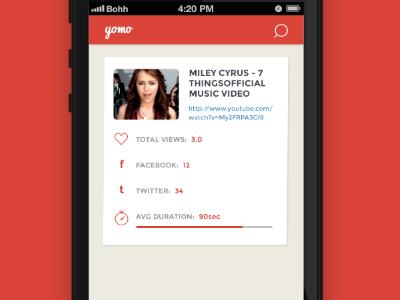 Yomo App  analytics flat app ios iphone icons youtube video stats ui