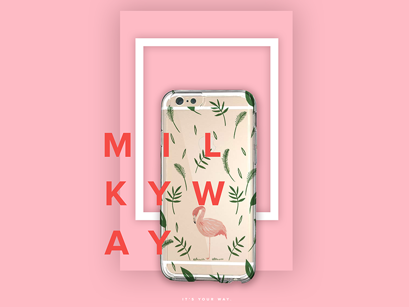 Milkyway  Branding & E-Commerce business cards flowers packaging phone case poster redesign e-commerce branding pink