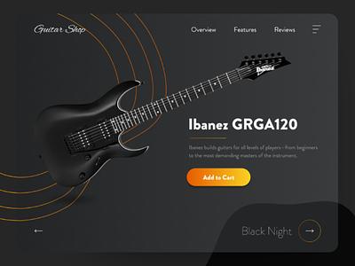 Guitar shop designoftheday dribbblers uitrends dailyui webdesign userinterface ibanez shop gray guitar music