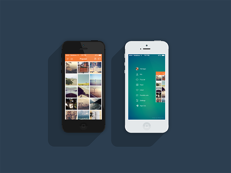 Roll Saver iPhone App ios7 iphone5 flat design icons instagram instasave clean pixel perfect side bar profile