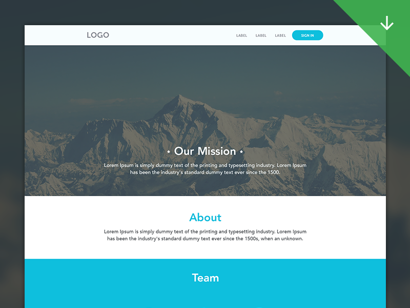 Web Template giveaway ux web design psd freebies download flat simple clean grids ui template