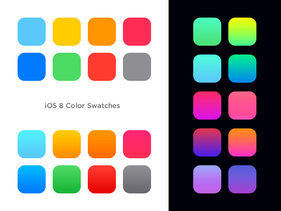 iOS 8 Color Swatches & gradients color swatches psd photoshop ios8 colours gradient pixel colorful download freebies