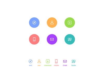 Colourful Icons interface ui email mobile download profile artwork perfect pixel line color icons