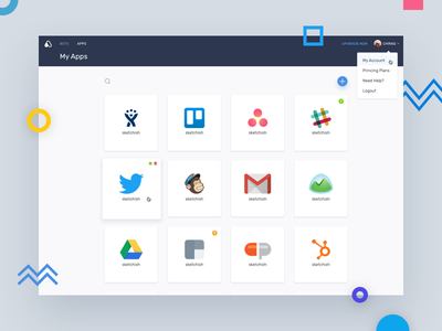 My Apps page interface clean visual interaction ui ux design automate app web webapp