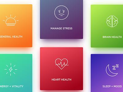 Categories Card ux ui design card categories emotions colors