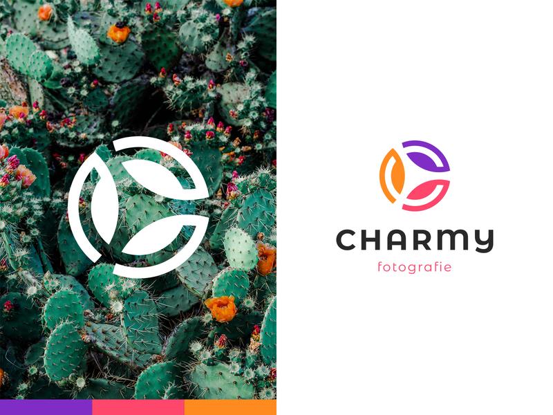 Charmy Fotografie monogram lettermark photo studio fotografie photography photos negative space identity branding mark symbol logo