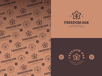 Freedom Oak retro rustic three print coasters leather whisky barrels oakleaf leaf oak star freedom identity branding mark symbol logo