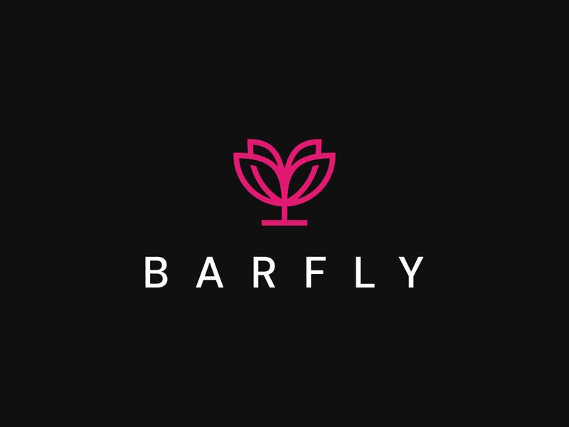 BarFly barfly insect restaurant glass wings fly drink club bar linework line art identity branding mark symbol logo