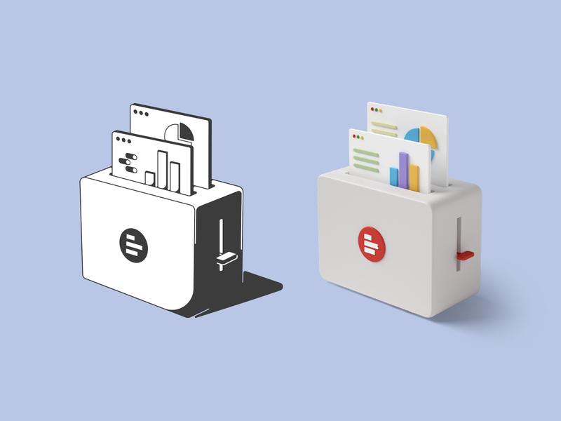 Data toaster brand identity 3d illustration 3d art linear illustration toaster data illustration identity branding mark symbol logo