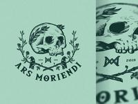 Ars Moriendi hand drawn raven rose art drawing vintage retro skull identity branding mark symbol logo