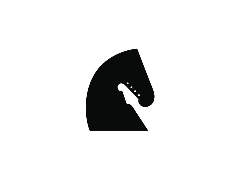 Headstock negative space logo negative-space negative space negativespace brandidentity chords knight horse music guitar identity branding mark symbol logo