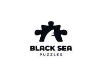 Black Sea Puzzles negativespacelogo negativespace black sea sea jigsaw puzzle fish sharks negative space identity branding mark symbol logo