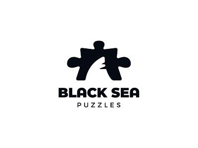 Black Sea Puzzles negativespacelogo negativespace black sea sea jigsaw puzzle fish sharks negative space identity branding mark symbol logo
