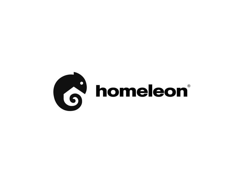 Homeleon negative-space negativespacelogo house home chameleon negative space animal identity branding mark symbol logo