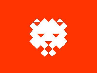 Lion minimal pixel lion animal identity branding mark symbol logo
