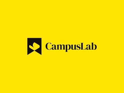 Campus Lab negative space logo student study book campus file flame identity branding mark symbol logo