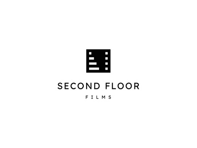 Second Floor Films floor filmmaker stairs movie film negative space identity branding mark symbol logo