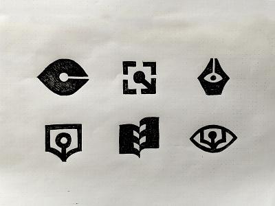 Close-up Book Publisher writing pen books publisher movie film cinema negative space identity branding mark symbol logo