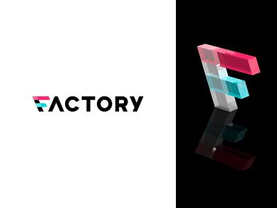 Factory factory logotype 3d rendering 3d modeling identity branding mark symbol logo