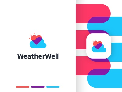 WeatherWell graphic design ai sun heart cloud health wellness well weather identity branding mark symbol logo