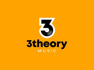 3 Theory Music three number 3 three theory record vinyl music identity branding mark symbol logo