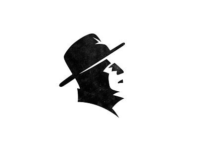 Face mafia sava stoic negative space hat man symbol mark logo