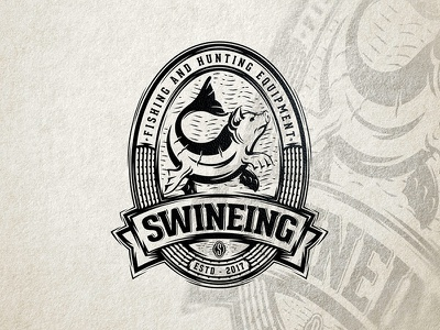 Swineing sava stoic fashion swine fishing fish pig animal emblem mark logo