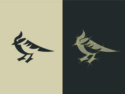 Black-lored Tit Grid sava stoic negative space grid bird animal symbol mark logo