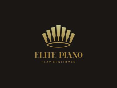 Elite Piano identity branding tuner music king elite crown piano symbol mark logo