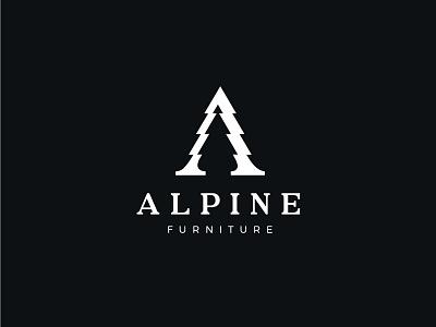 Alpine conifer design furniture mountain alps tree letter a letter mark symbol mark logo